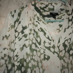 Mossimo Blouse Large ~ Pink White & Green